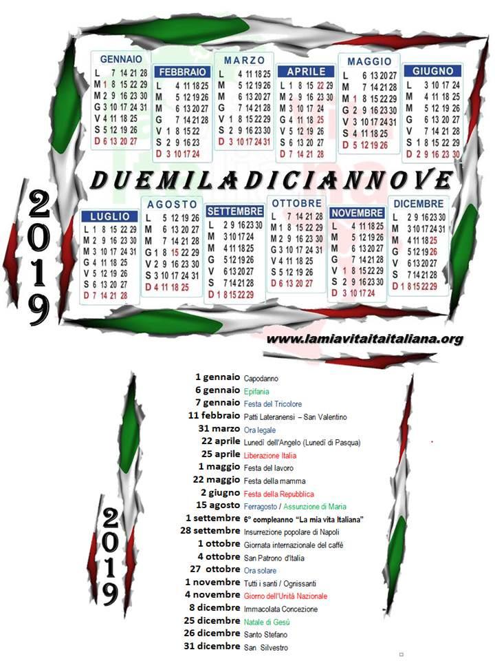 Doble click sobre la foto para Descarga el Calendario italiano 2019 con fechas importantes