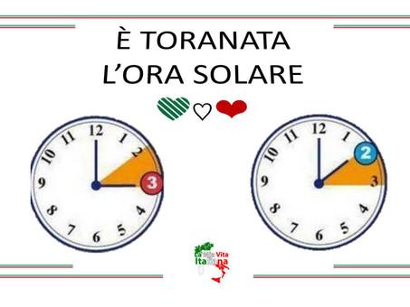 Ritorna l'ora solare in Italia