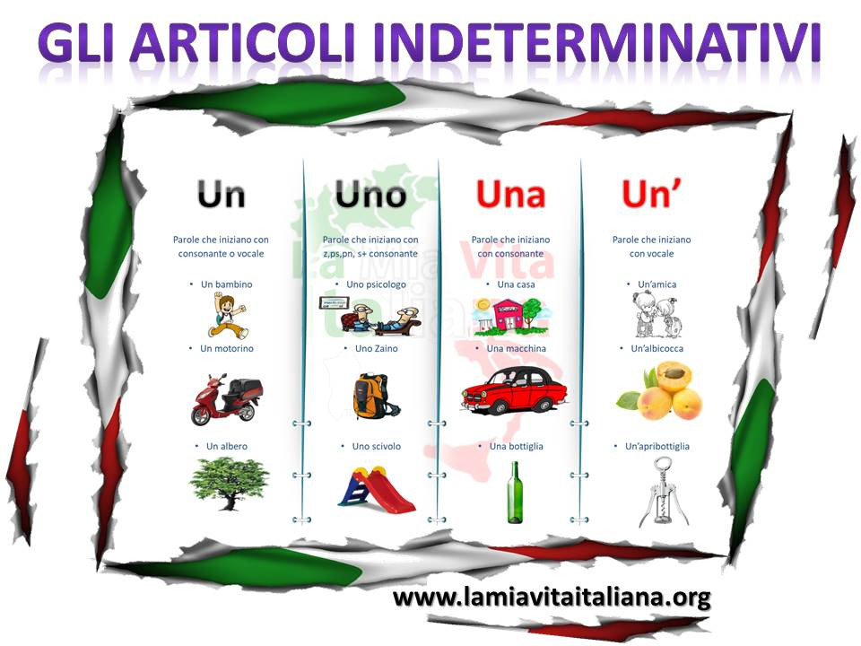 Artículo indeterminado en Italiano