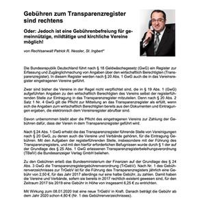 Gebühren zum Transparenzregister sind rechtens