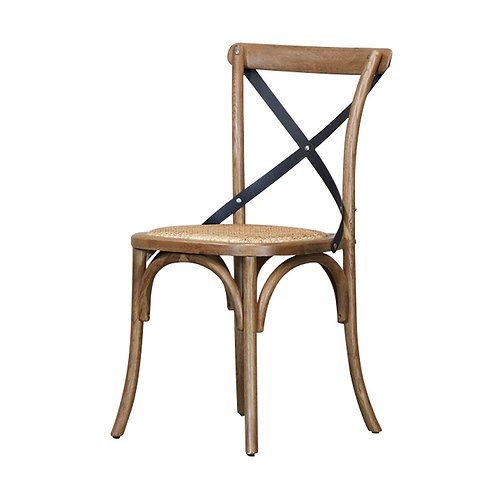 Bentwood Dining Chair, Metal Crossback - Rattan Seat