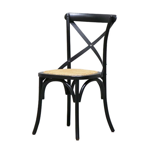 Bentwood Black Dining Chair, Metal Crossback - Rattan Seat