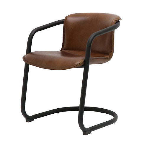 Bealey Leather Dining Chair - Soft Touch Brown