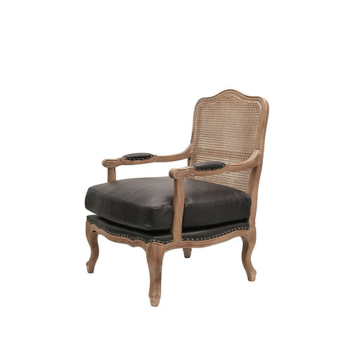 Rhys Leather & Rattan Armchair