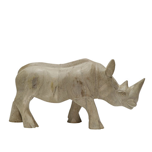 Carved from mango wood, this magnificent Rhinoceros sits splendidly on its own or paired with the smaller version.