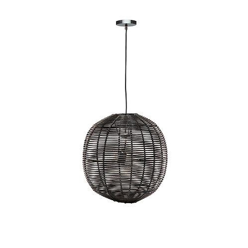 Rattan Globe Pendant - Black, Small