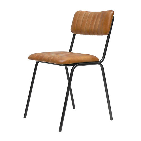 Leather & Iron Dining Chair - Tan