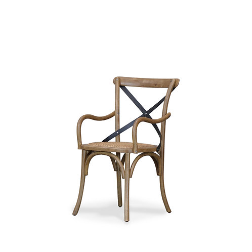 Bentwood Carver Dining Chair, Metal Crossback - Rattan Seat