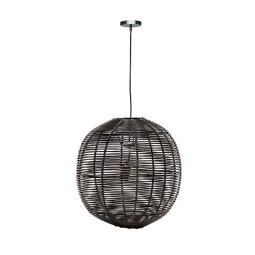 Rattan Globe Pendant - Black Large
