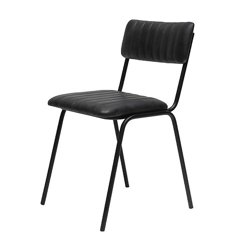 Leather & Iron Dining Chair - Black