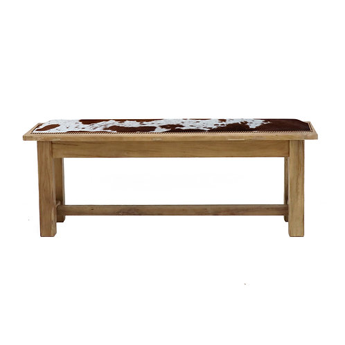 Farmhouse Bench - 110cm - Cowhide Seat