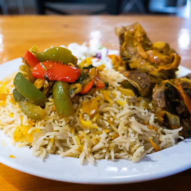 Goat Meat and Rice Entree