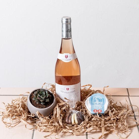 ״שאטו סוקולנט״ - מארז יין וצמח
