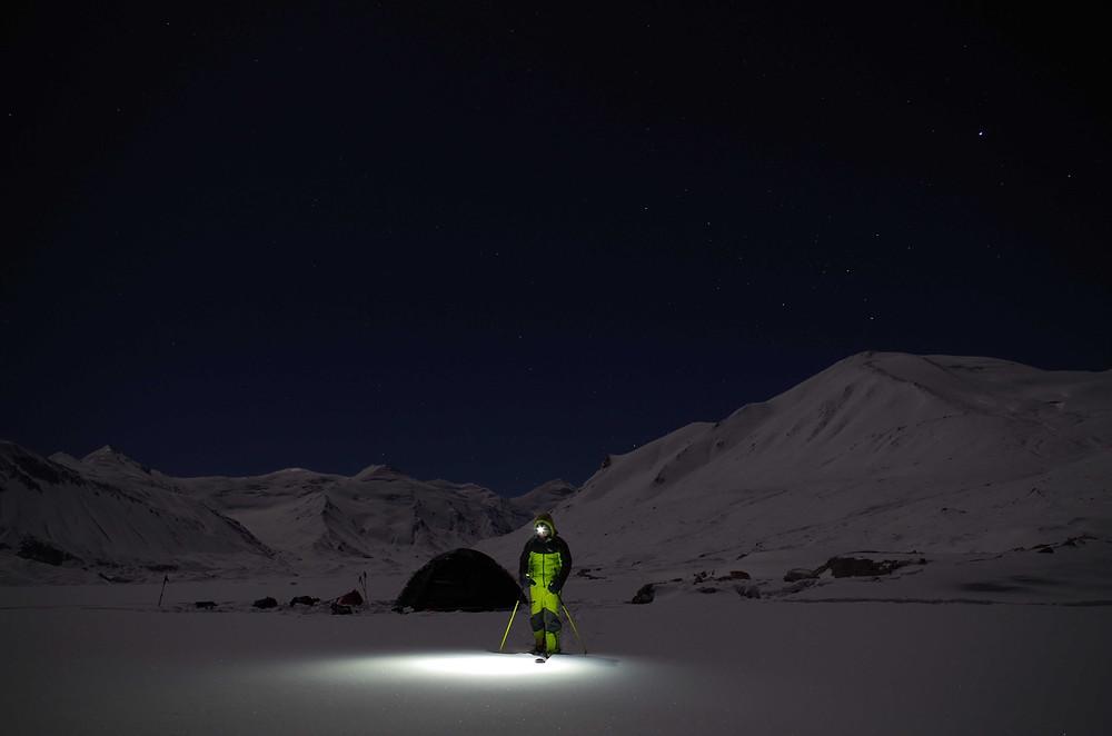 Photo de nuit de notre bivouac