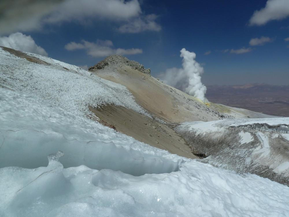 Glacier de la fin de l'ascension du volcan Guallatiri