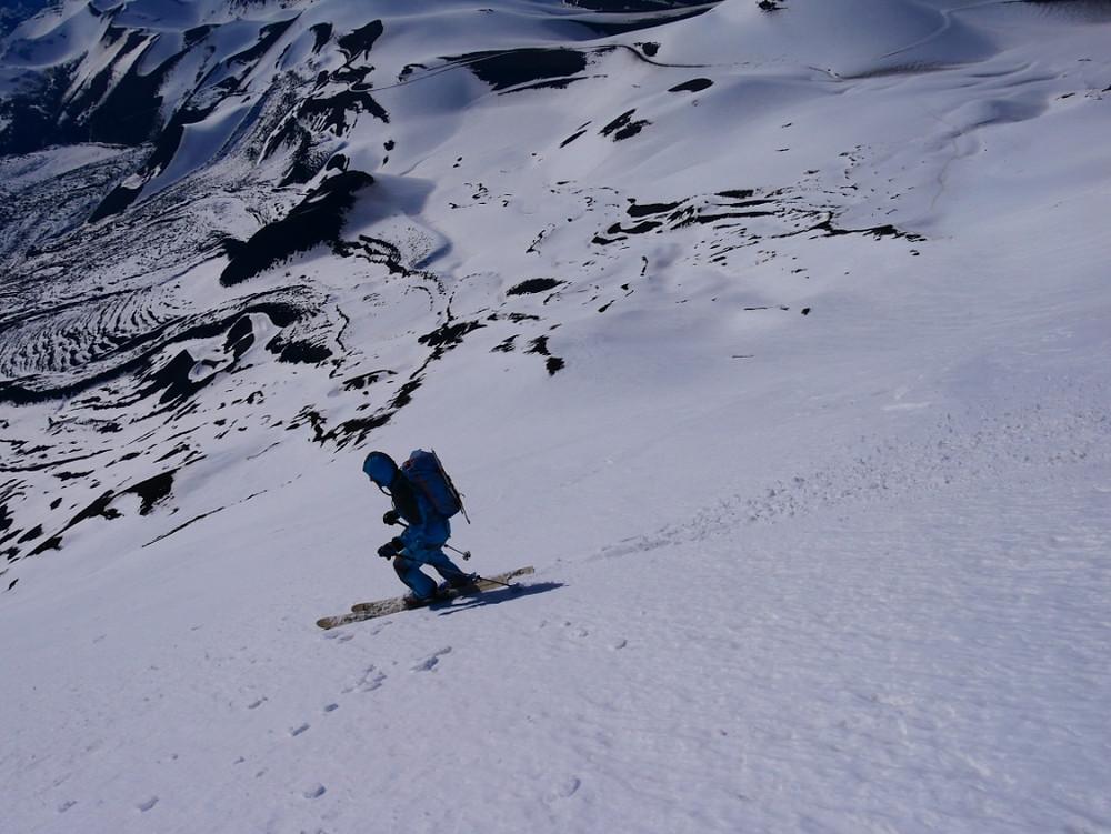 Descente du volcan Llaima à ski