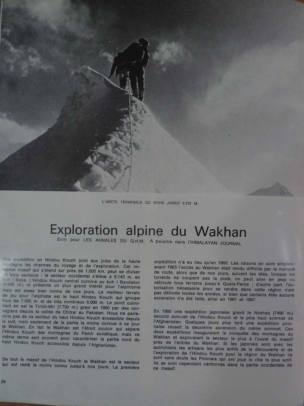 Exploration alpine du Wakhan, alpinisme en Afghanistan