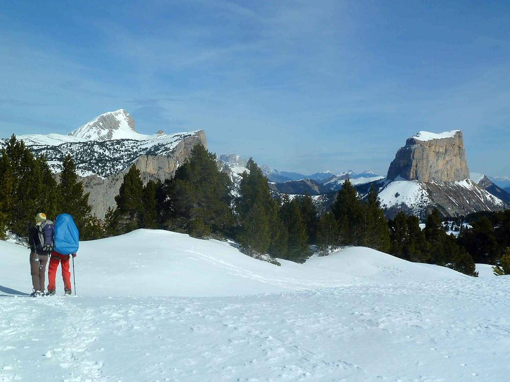 vue magique  sur le mont Aiguille et le grand Veymont !
