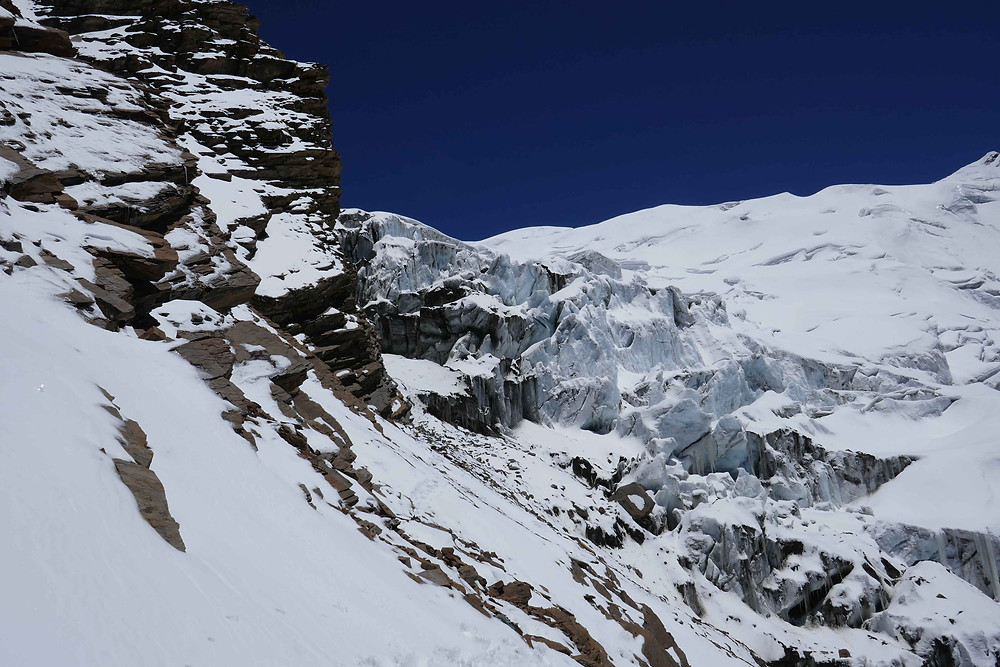 Au-dessus du camp 1 et juste avant la traversée expo qui mène à l'icefall