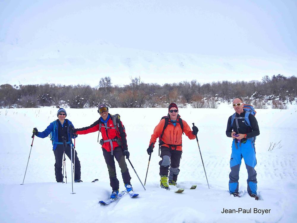 Matthieu, Claude, Laurent et Arnaud le groupe de ski de rando