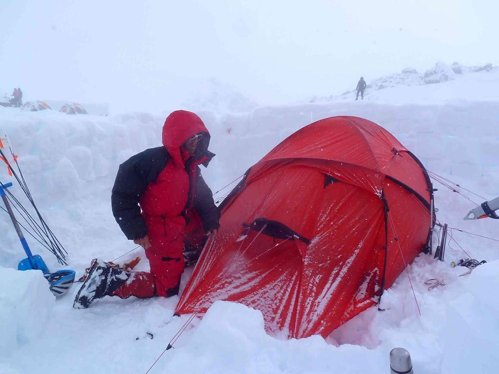 camp 4 du Denali et notre mur de neige