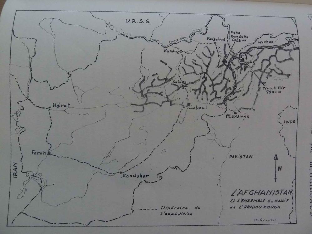 Carte de l'expédition française en Hindou Kouch