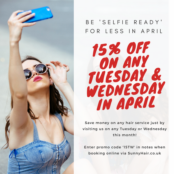 Be 'Selfie Ready' for less with 15% off on Tuesdays & Wednesdays