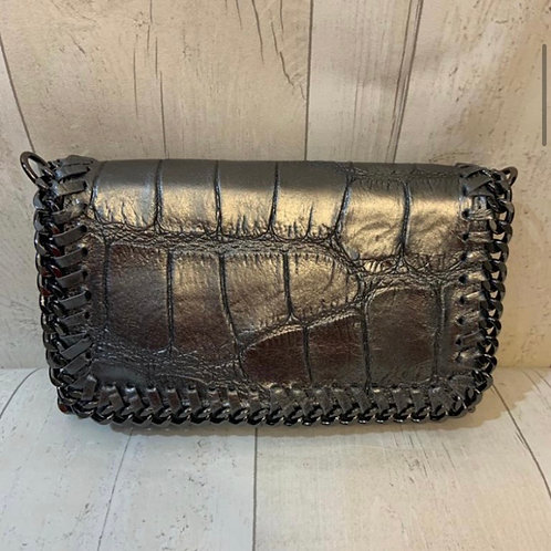 Real leather chain across body bag pewter