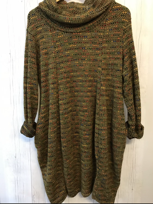 SMade in Italy fleck cowl neck dress mustard one size