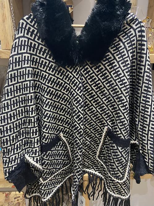 Faux Fur Cape square pattern black