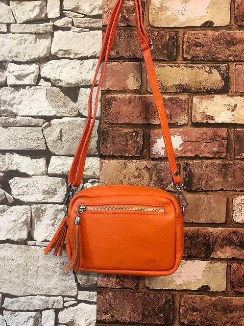 Real leather Italian across body bag orange