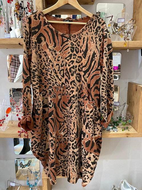 Rust leopard dress