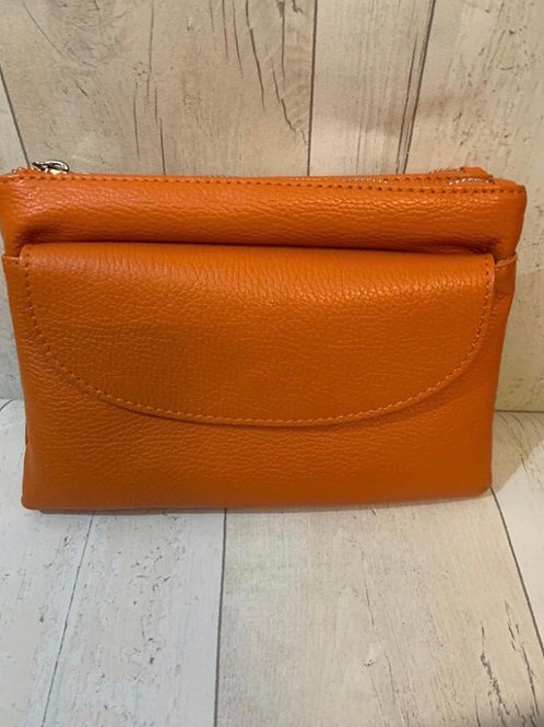 Real leather across body bag orange