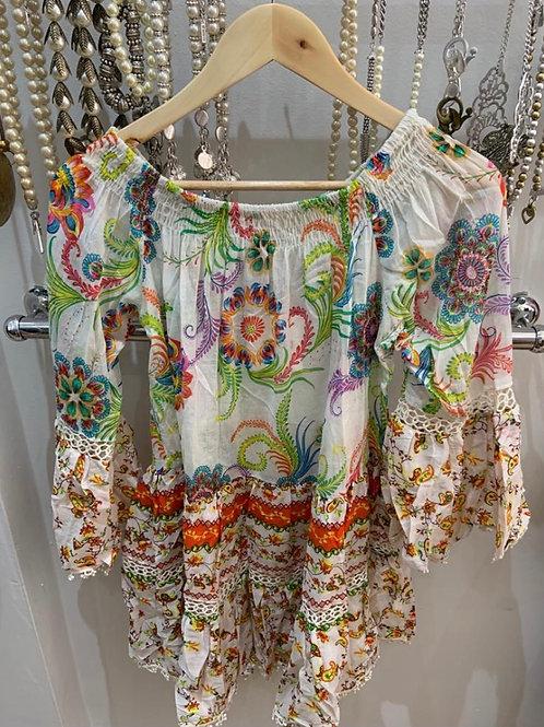 Boho Indian Cotton Tunic/Dress white