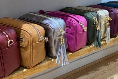 Real Leather Italian box bag across body
