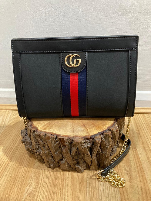 Black bag with logo and chain strap