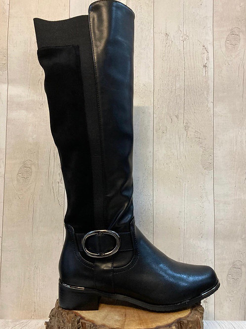SALE Lunar Black knee high boots stretch back