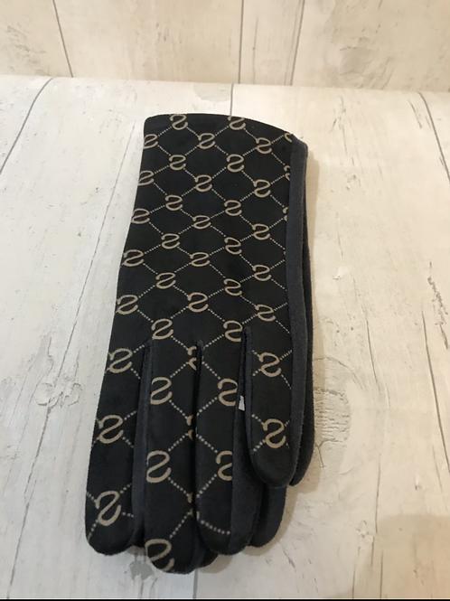 Black patterned gloves