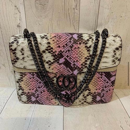 Real leather snake bag pink