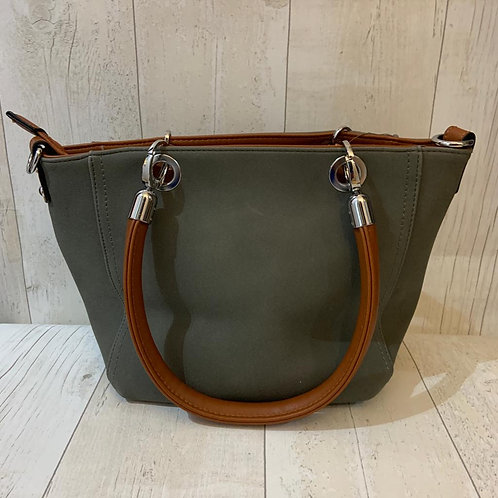 Milan across body tote in grey with tan handles