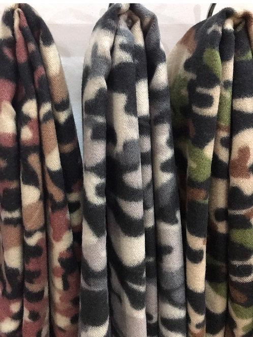 Camo fleece scarf choose from 3 colours