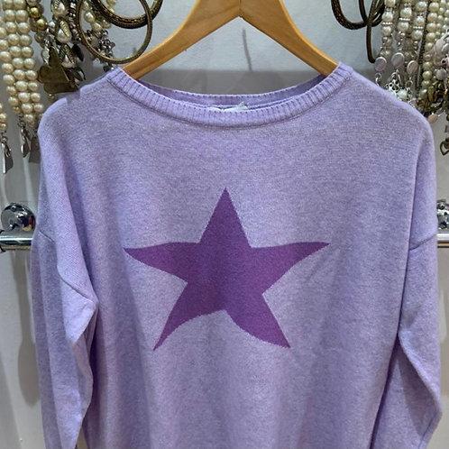 Miss sugar cashmere mix jumper lilac star
