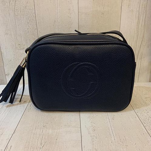 Milan crossbody boxy tassel bag in Navy