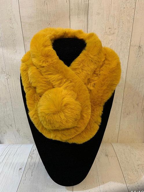 Faux fur neck Pom Pom mustard