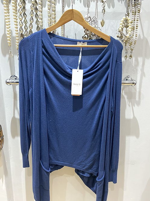 SALE Suzy D cardy top blue one size