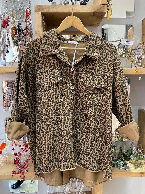 Tan leopard shacket
