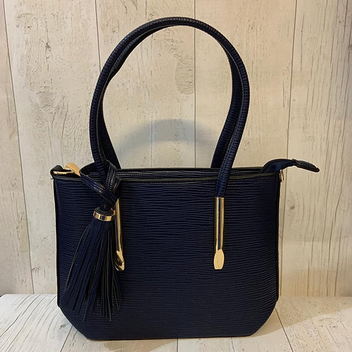 Milan Crossbody tote bag with tassel and gold detailing in Navy