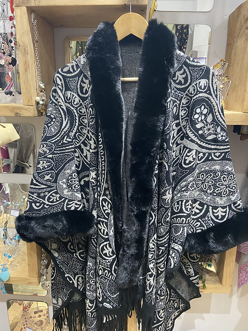 Faux Fur Cape Black
