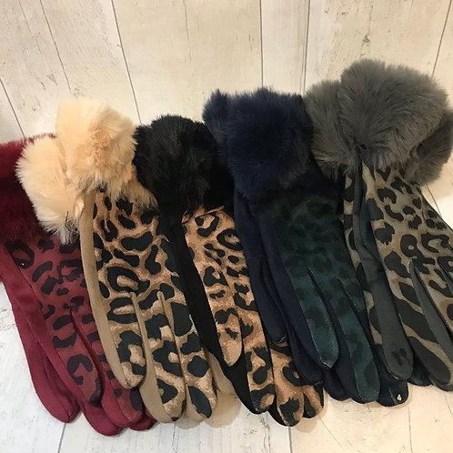 Leopard faux fur gloves