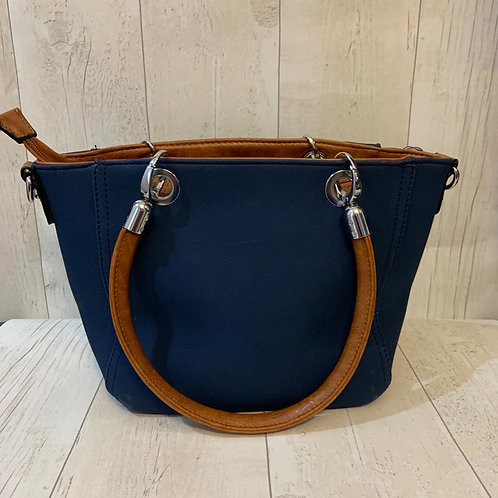 Milan across body tote bag in navy with tan handles